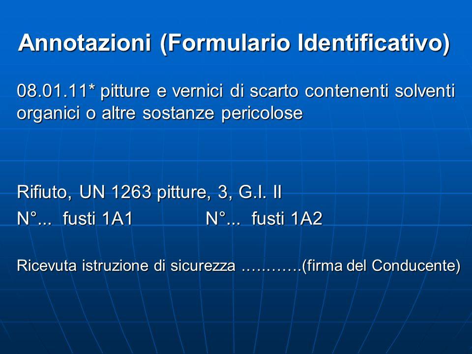 Annotazioni (Formulario Identificativo) 08.01.11* pitture e vernici di scarto contenenti solventi organici o altre sostanze pericolose Rifiuto, UN 126