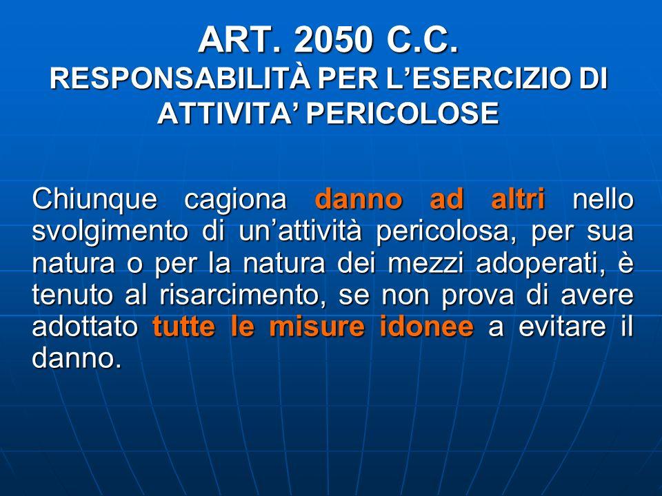 ART. 2050 C.C. RESPONSABILITÀ PER LESERCIZIO DI ATTIVITA PERICOLOSE Chiunque cagiona danno ad altri nello svolgimento di unattività pericolosa, per su