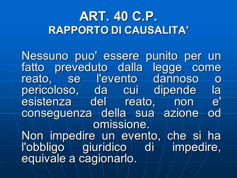 ART. 40 C.P. RAPPORTO DI CAUSALITA Nessuno puo' essere punito per un fatto preveduto dalla legge come reato, se l'evento dannoso o pericoloso, da cui