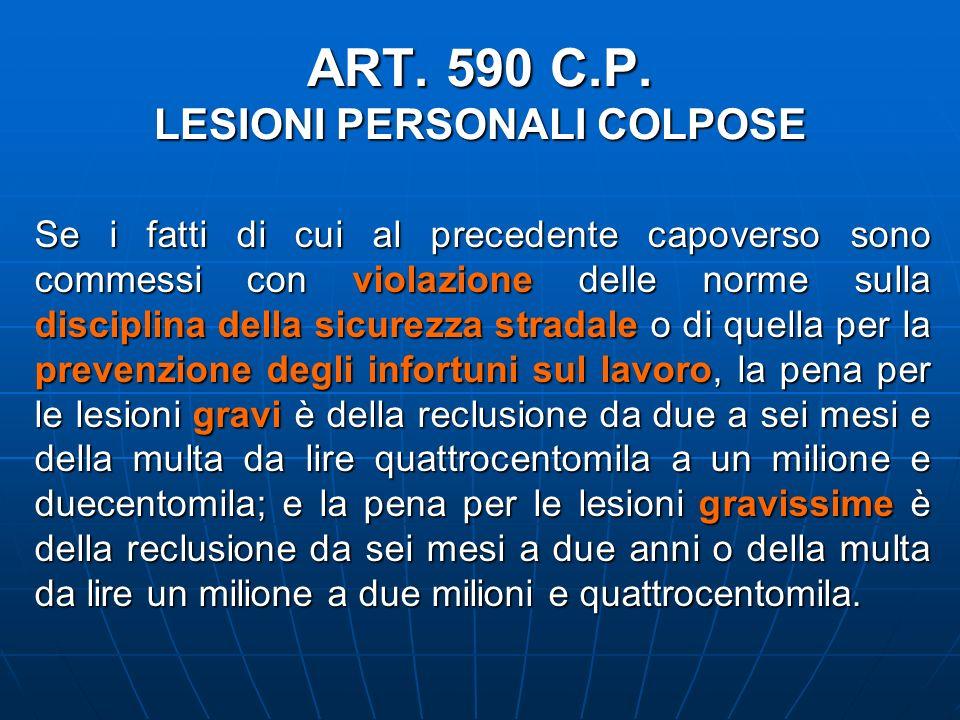 ART. 590 C.P. LESIONI PERSONALI COLPOSE Se i fatti di cui al precedente capoverso sono commessi con violazione delle norme sulla disciplina della sicu