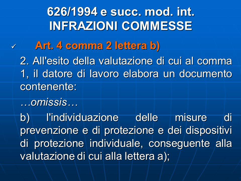 626/1994 e succ. mod. int. INFRAZIONI COMMESSE Art. 4 comma 2 lettera b) Art. 4 comma 2 lettera b) 2. All'esito della valutazione di cui al comma 1, i
