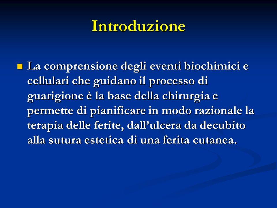 Introduzione La comprensione degli eventi biochimici e cellulari che guidano il processo di guarigione è la base della chirurgia e permette di pianifi