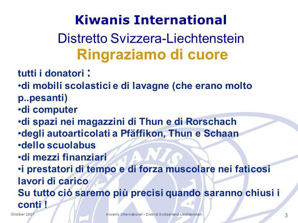Oktober 2007Kiwanis International - District Switzerland-Liechtenstein 14 Alcuni dei contatti importanti Kastriot Faci Sindaco Lorenc Luca Ministro dellistruzione Lora Mandi Direttore di scuola Ymer Vila Dr.
