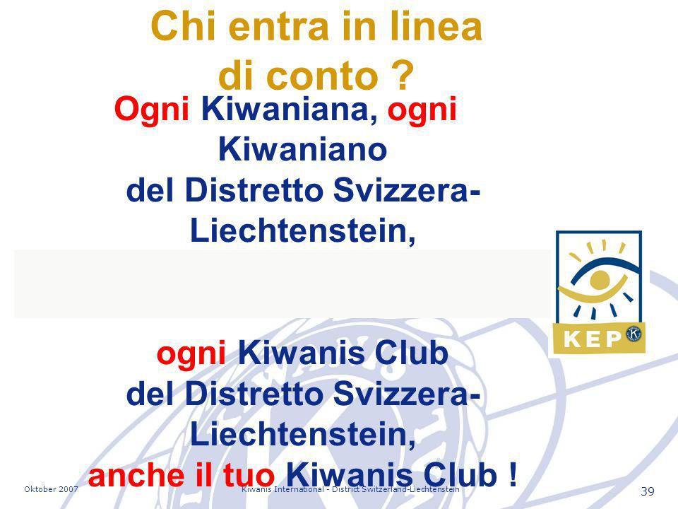 Oktober 2007Kiwanis International - District Switzerland-Liechtenstein 39 Ogni Kiwaniana, ogni Kiwaniano del Distretto Svizzera- Liechtenstein, ogni Kiwanis Club del Distretto Svizzera- Liechtenstein, anche il tuo Kiwanis Club .