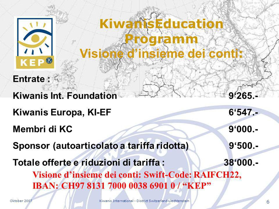 Oktober 2007Kiwanis International - District Switzerland-Liechtenstein 6 KiwanisEducation Programm Visione dinsieme dei conti : Entrate : Kiwanis Int.