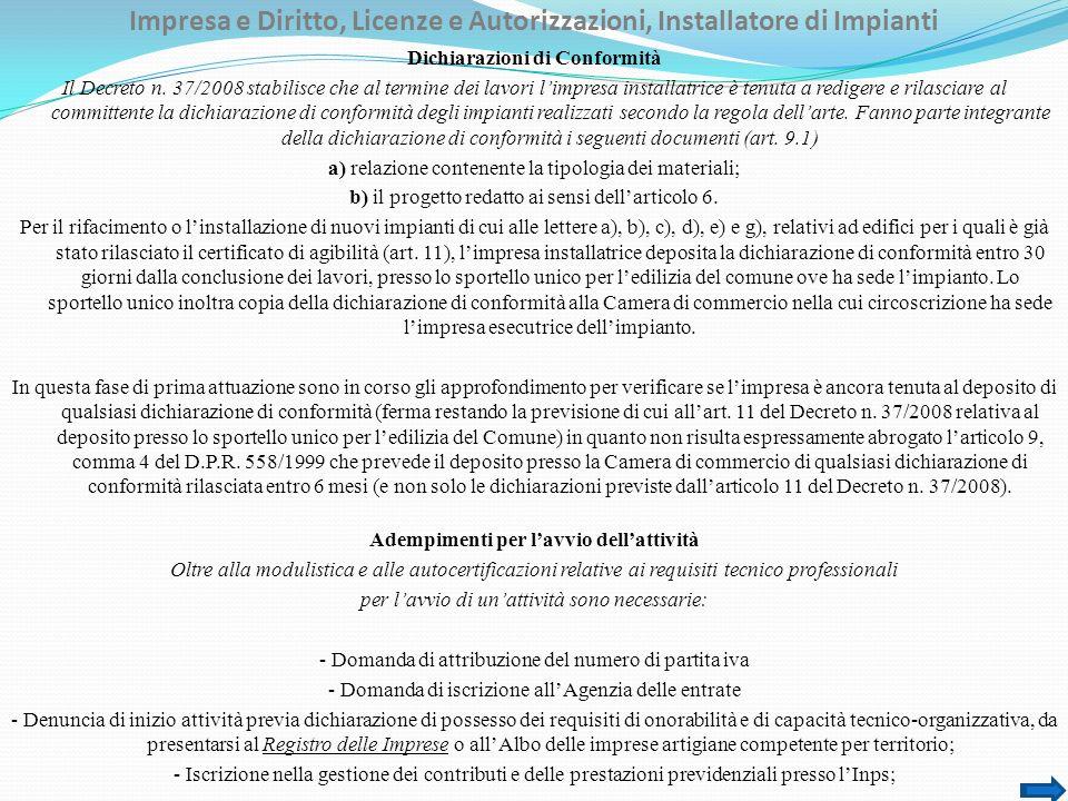 Impresa e Diritto, Licenze e Autorizzazioni, Installatore di Impianti Dichiarazioni di Conformità Il Decreto n.