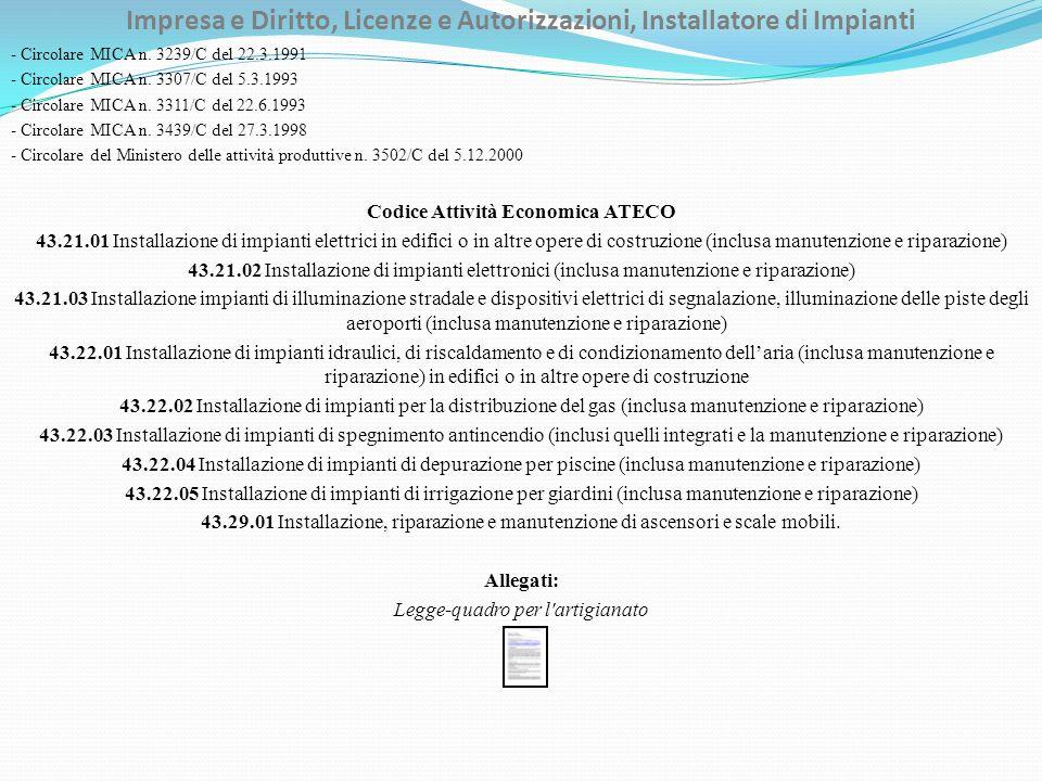 Impresa e Diritto, Licenze e Autorizzazioni, Installatore di Impianti - Circolare MICA n.