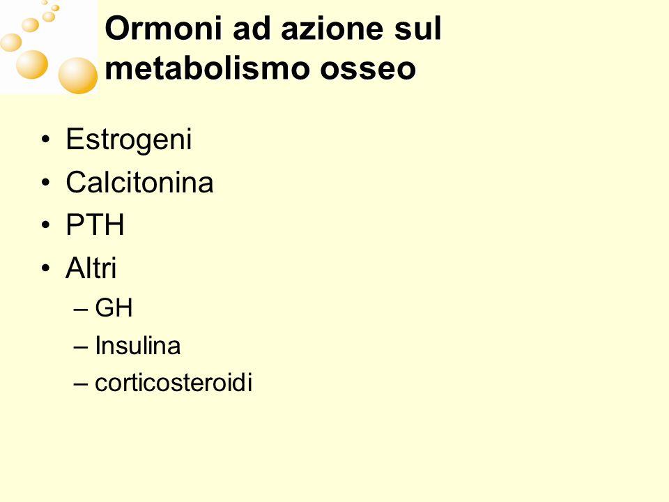 Ormoni ad azione sul metabolismo osseo Estrogeni Calcitonina PTH Altri –GH –Insulina –corticosteroidi