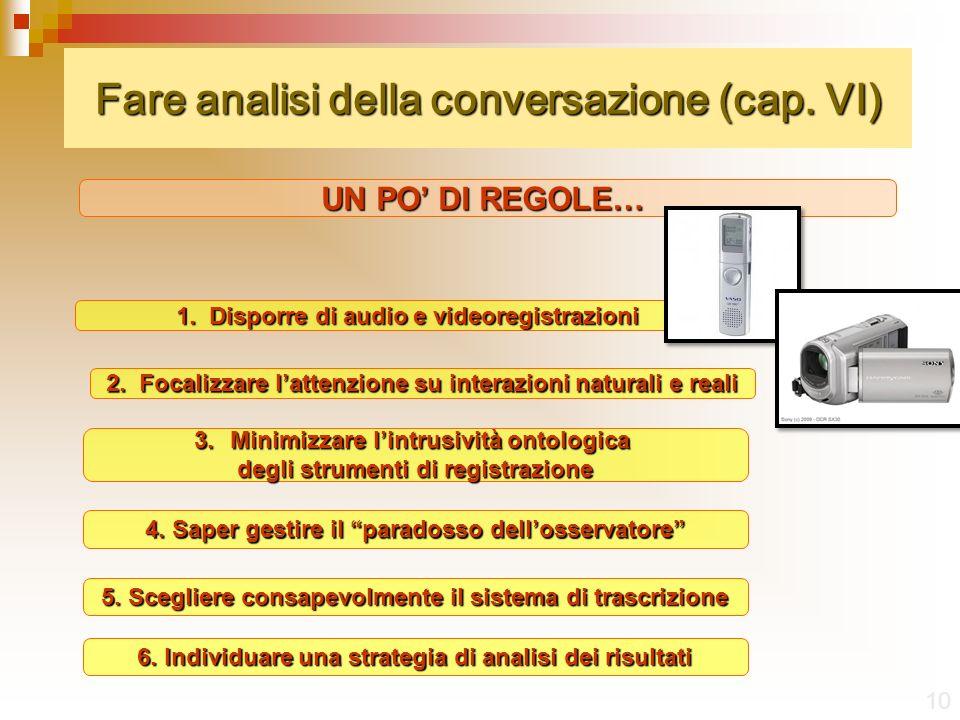 Fare analisi della conversazione (cap.VI) 10 UN PO DI REGOLE… 1.