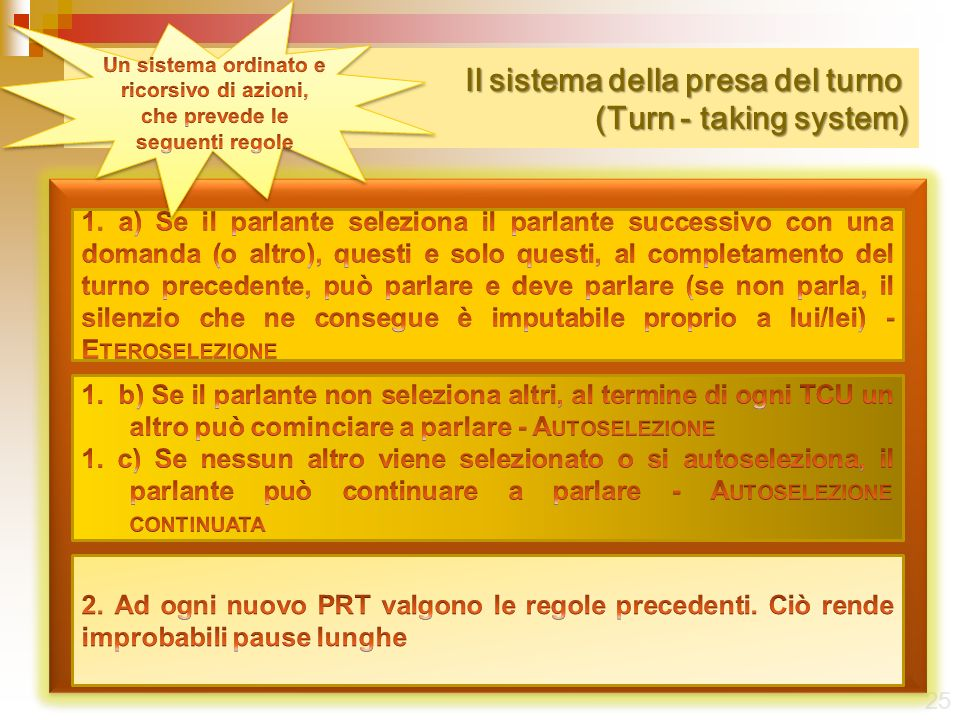 Il sistema della presa del turno (Turn - taking system) Il sistema della presa del turno (Turn - taking system) 25