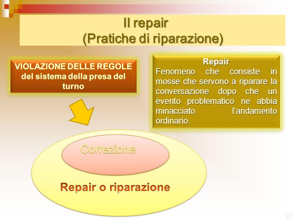 Il repair (Pratiche di riparazione) 27 Repair Fenomeno che consiste in mosse che servono a riparare la conversazione dopo che un evento problematico ne abbia minacciato landamento ordinario.