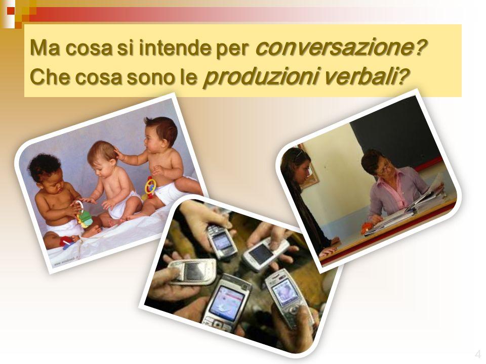 Ma cosa si intende per conversazione ? Che cosa sono le produzioni verbali ? 4