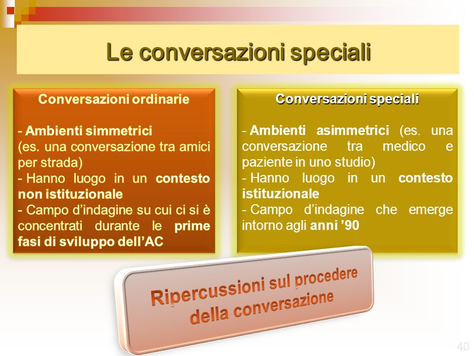 Le conversazioni speciali 40 Conversazioni speciali - Ambienti asimmetrici (es.