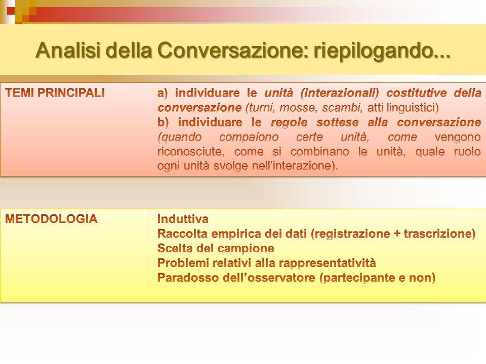 Analisi della Conversazione: riepilogando...