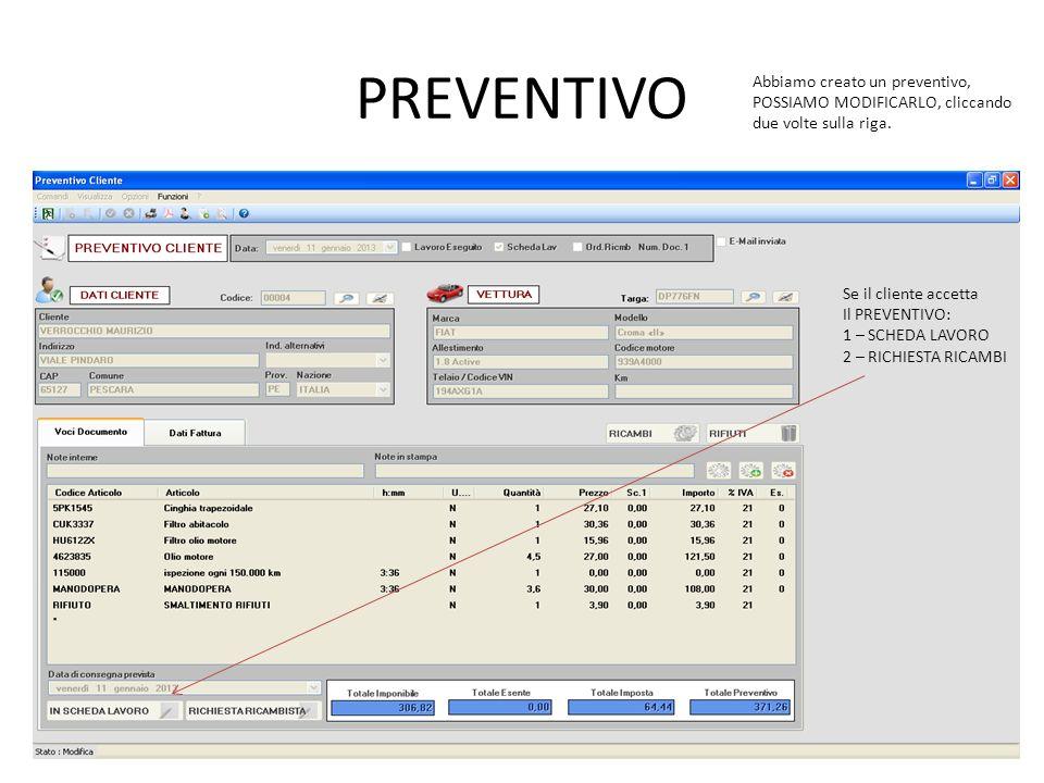 PREVENTIVO Abbiamo creato un preventivo, POSSIAMO MODIFICARLO, cliccando due volte sulla riga. Se il cliente accetta Il PREVENTIVO: 1 – SCHEDA LAVORO