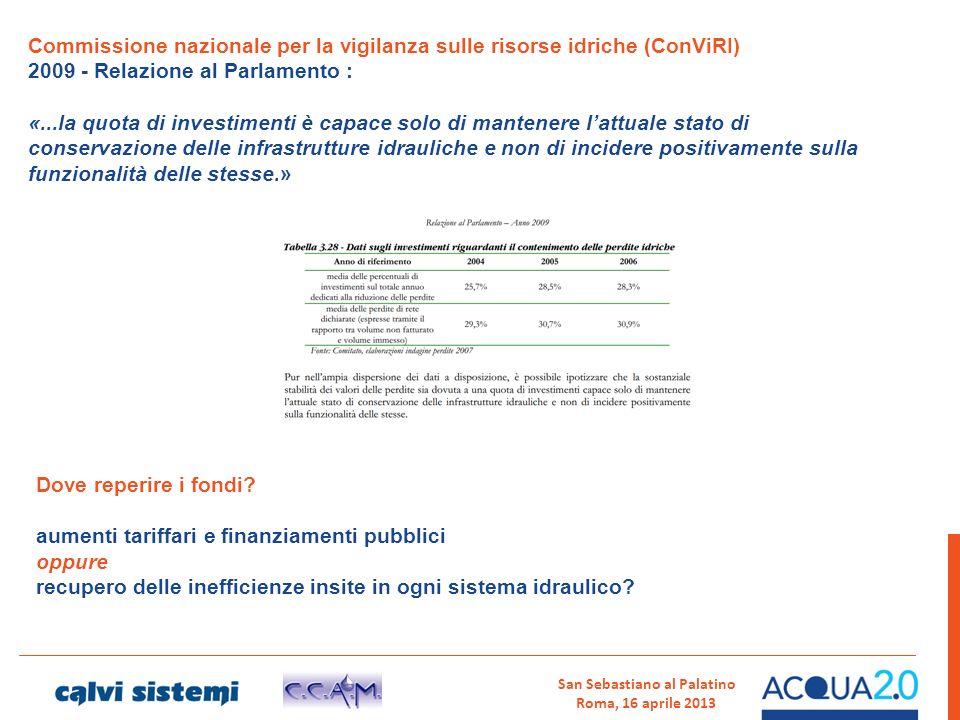 San Sebastiano al Palatino Roma, 16 aprile 2013 Commissione nazionale per la vigilanza sulle risorse idriche (ConViRI) 2009 - Relazione al Parlamento