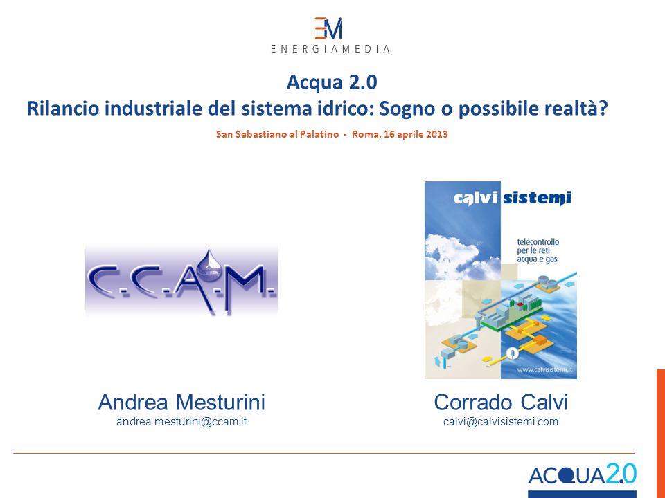 Corrado Calvi calvi@calvisistemi.com Andrea Mesturini andrea.mesturini@ccam.it San Sebastiano al Palatino - Roma, 16 aprile 2013 Acqua 2.0 Rilancio in