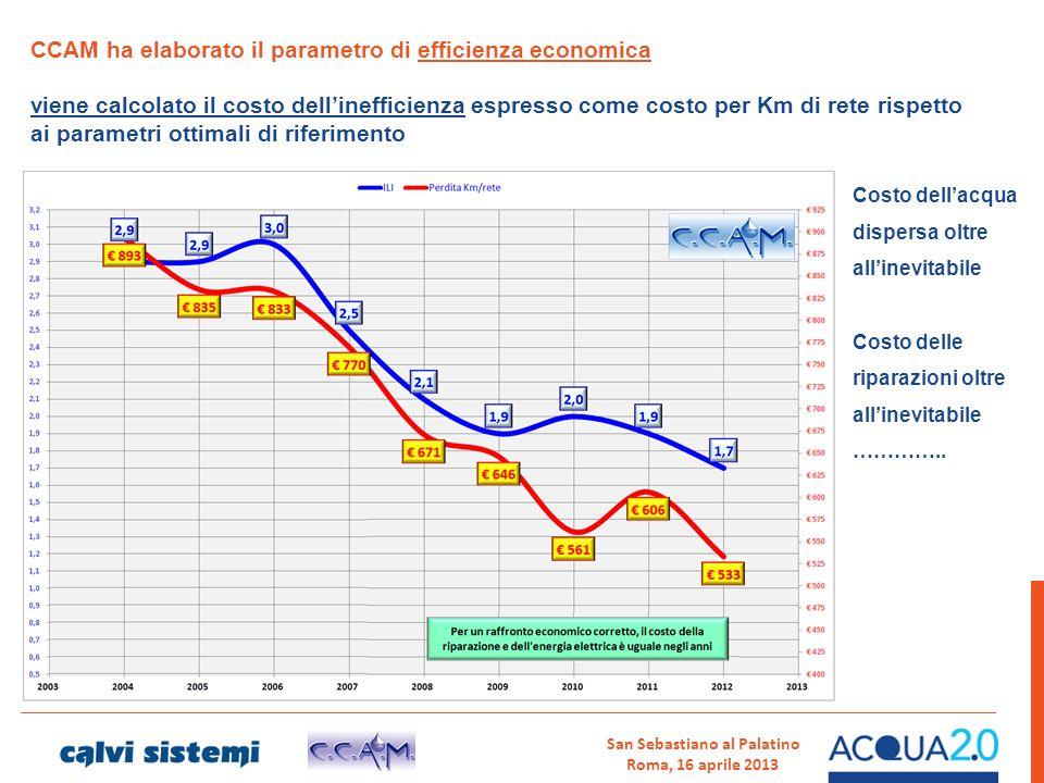 San Sebastiano al Palatino Roma, 16 aprile 2013 CCAM ha elaborato il parametro di efficienza economica viene calcolato il costo dellinefficienza espre