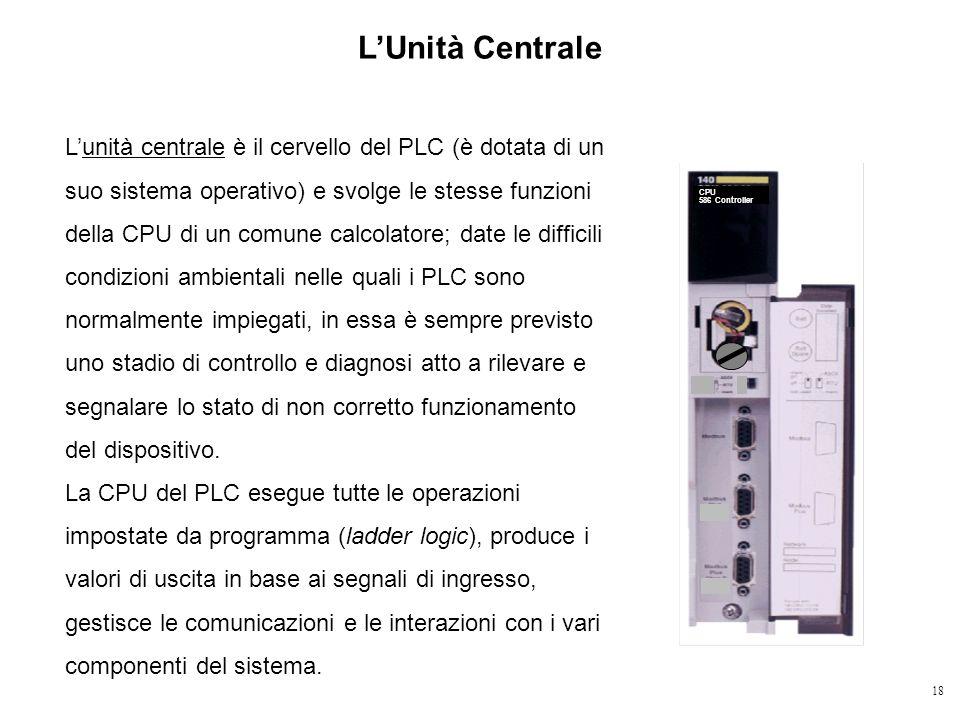 18 LUnità Centrale Lunità centrale è il cervello del PLC (è dotata di un suo sistema operativo) e svolge le stesse funzioni della CPU di un comune cal
