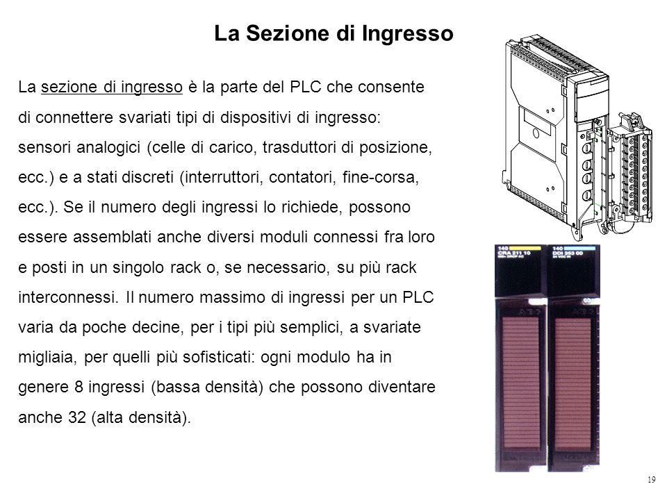 19 La Sezione di Ingresso La sezione di ingresso è la parte del PLC che consente di connettere svariati tipi di dispositivi di ingresso: sensori analo