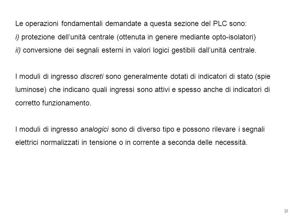 20 Le operazioni fondamentali demandate a questa sezione del PLC sono: i) protezione dellunità centrale (ottenuta in genere mediante opto-isolatori) i
