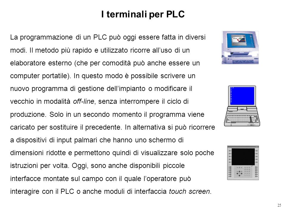 25 I terminali per PLC La programmazione di un PLC può oggi essere fatta in diversi modi. Il metodo più rapido e utilizzato ricorre alluso di un elabo