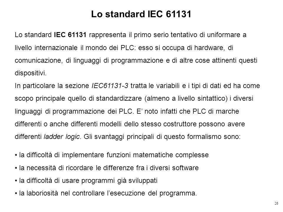 26 Lo standard IEC 61131 rappresenta il primo serio tentativo di uniformare a livello internazionale il mondo dei PLC: esso si occupa di hardware, di