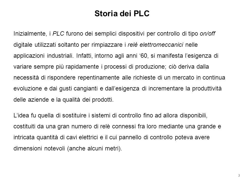 3 Storia dei PLC Inizialmente, i PLC furono dei semplici dispositivi per controllo di tipo on/off digitale utilizzati soltanto per rimpiazzare i relè