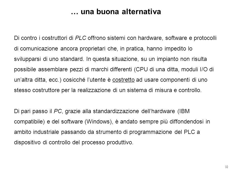32 Di contro i costruttori di PLC offrono sistemi con hardware, software e protocolli di comunicazione ancora proprietari che, in pratica, hanno imped
