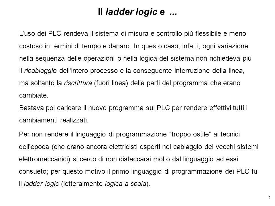 7 Il ladder logic e... Luso dei PLC rendeva il sistema di misura e controllo più flessibile e meno costoso in termini di tempo e danaro. In questo cas