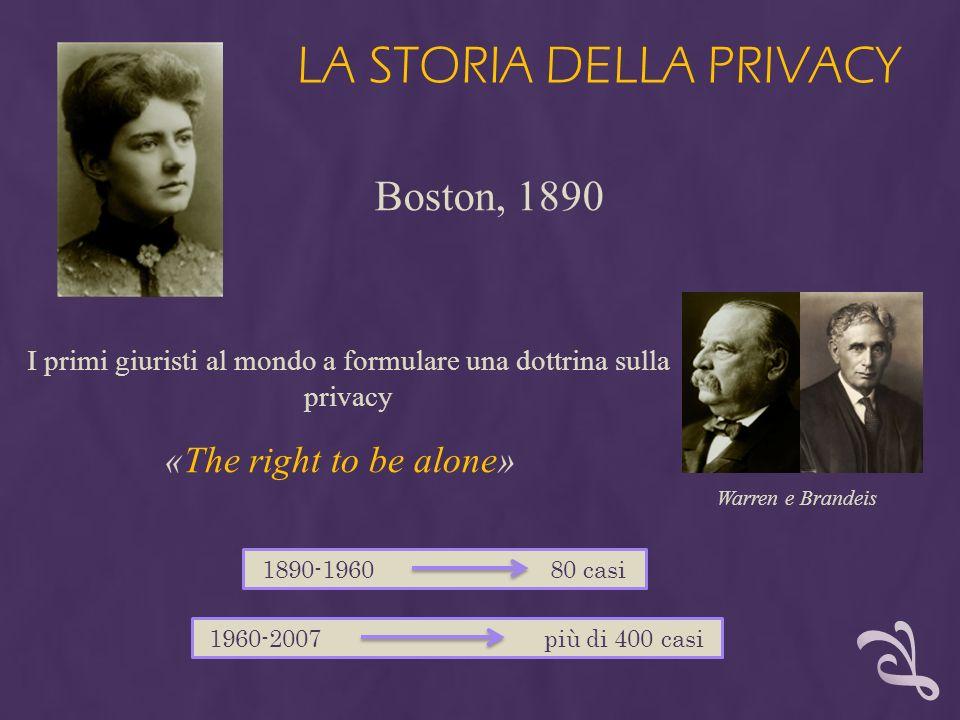 LA STORIA DELLA PRIVACY I primi giuristi al mondo a formulare una dottrina sulla privacy 1890-1960 80 casi 1960-2007 più di 400 casi «The right to be
