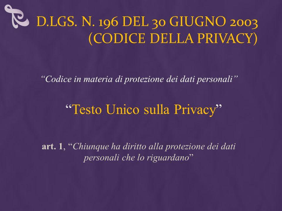 D.LGS. N. 196 DEL 30 GIUGNO 2003 (CODICE DELLA PRIVACY) Testo Unico sulla Privacy Codice in materia di protezione dei dati personali art. 1,Chiunque h