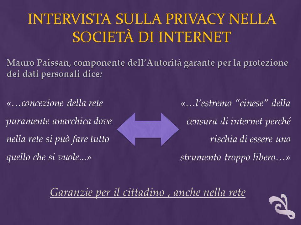 INTERVISTA SULLA PRIVACY NELLA SOCIETÀ DI INTERNET «…concezione della rete puramente anarchica dove nella rete si può fare tutto quello che si vuole..