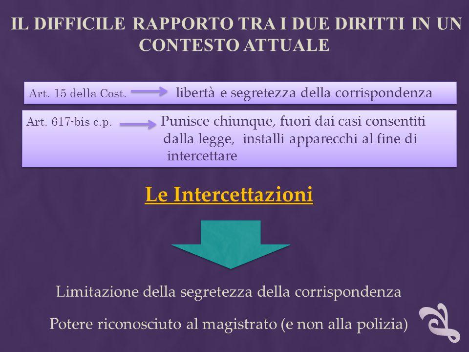 IL DIFFICILE RAPPORTO TRA I DUE DIRITTI IN UN CONTESTO ATTUALE Le Intercettazioni Limitazione della segretezza della corrispondenza Art. 617-bis c.p.