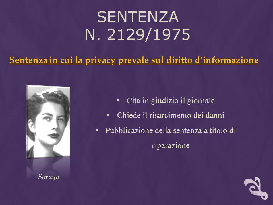 SENTENZA N. 2129/1975 Sentenza in cui la privacy prevale sul diritto dinformazione Cita in giudizio il giornale Chiede il risarcimento dei danni Pubbl