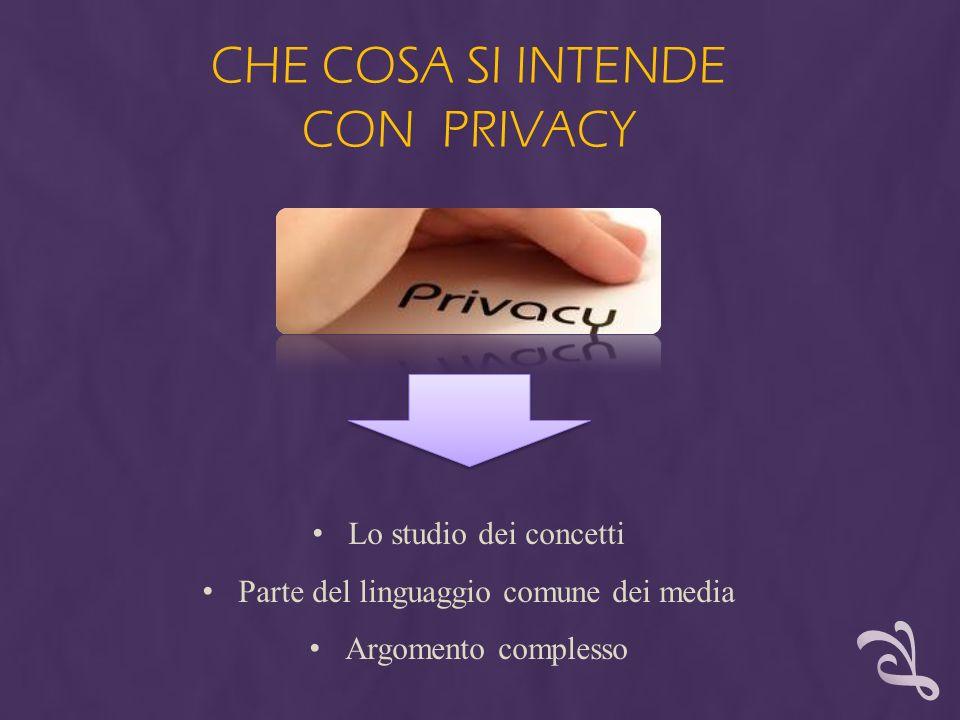 CHE COSA SI INTENDE CON PRIVACY Lo studio dei concetti Parte del linguaggio comune dei media Argomento complesso