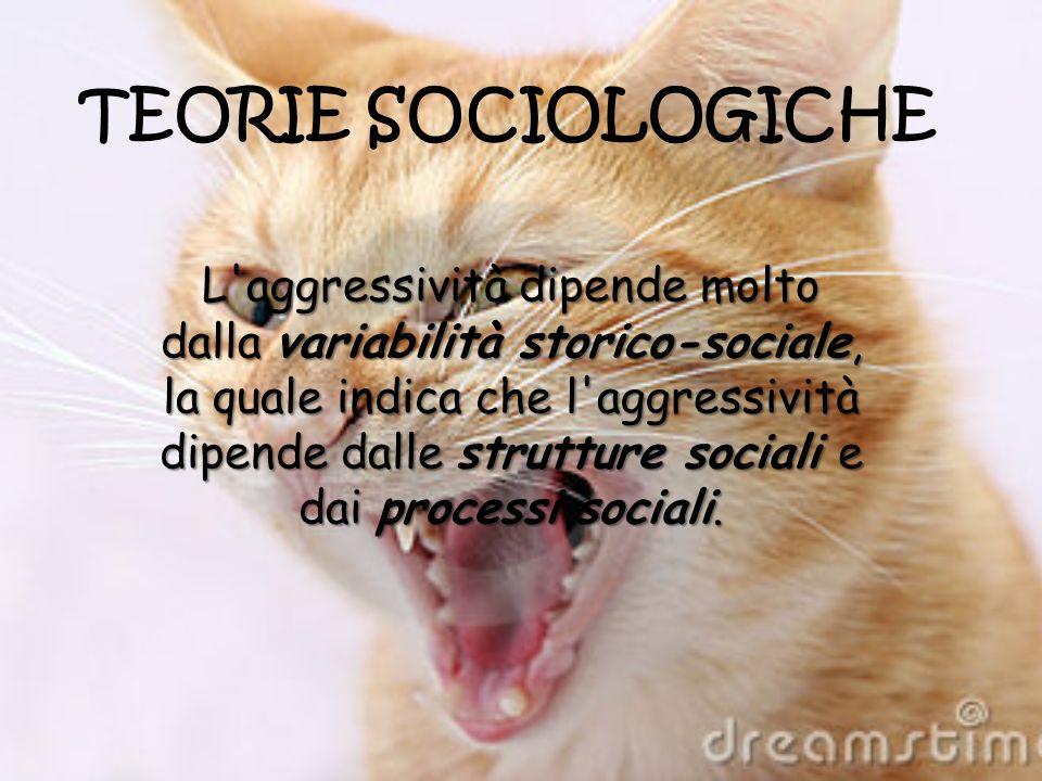 TEORIE SOCIOLOGICHE L'aggressività dipende molto dalla variabilità storico-sociale, la quale indica che l'aggressività dipende dalle strutture sociali