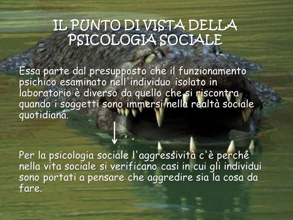 IL PUNTO DI VISTA DELLA PSICOLOGIA SOCIALE Essa parte dal presupposto che il funzionamento psichico esaminato nell'individuo isolato in laboratorio è
