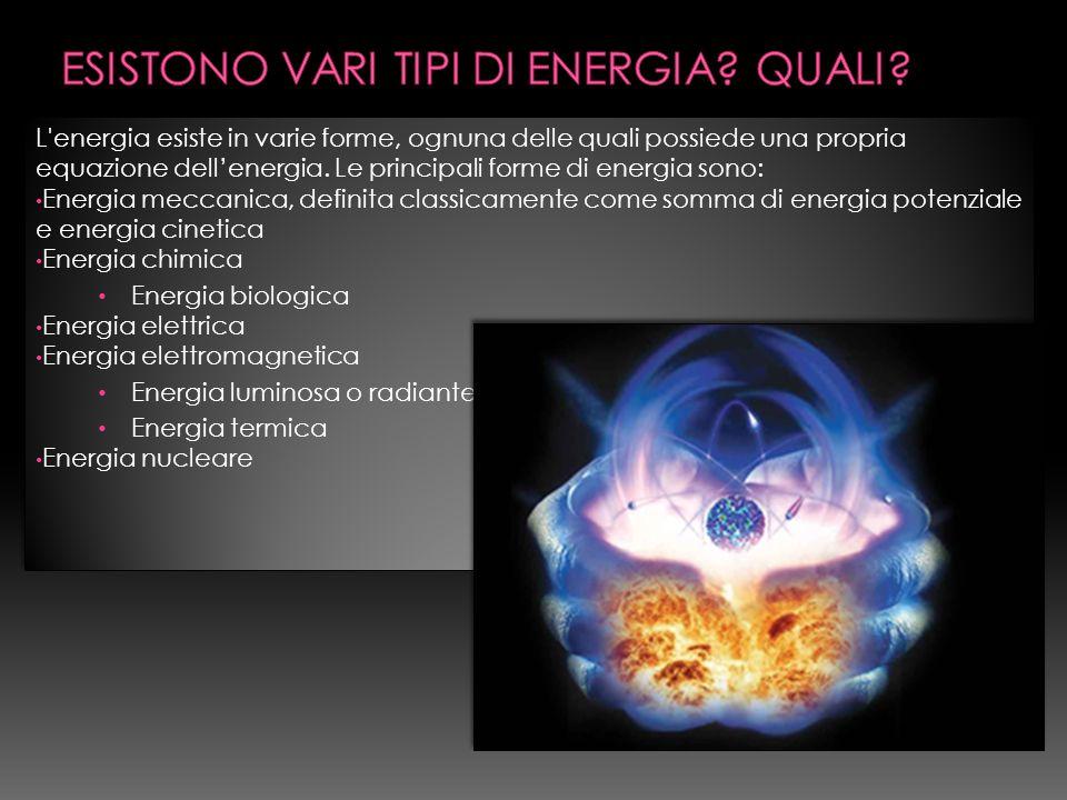L energia esiste in varie forme, ognuna delle quali possiede una propria equazione dellenergia.