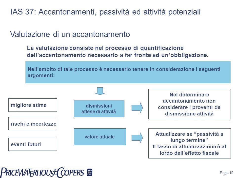 Page 10 IAS 37: Accantonamenti, passività ed attività potenziali dismissioni attese di attività Nellambito di tale processo è necessario tenere in con