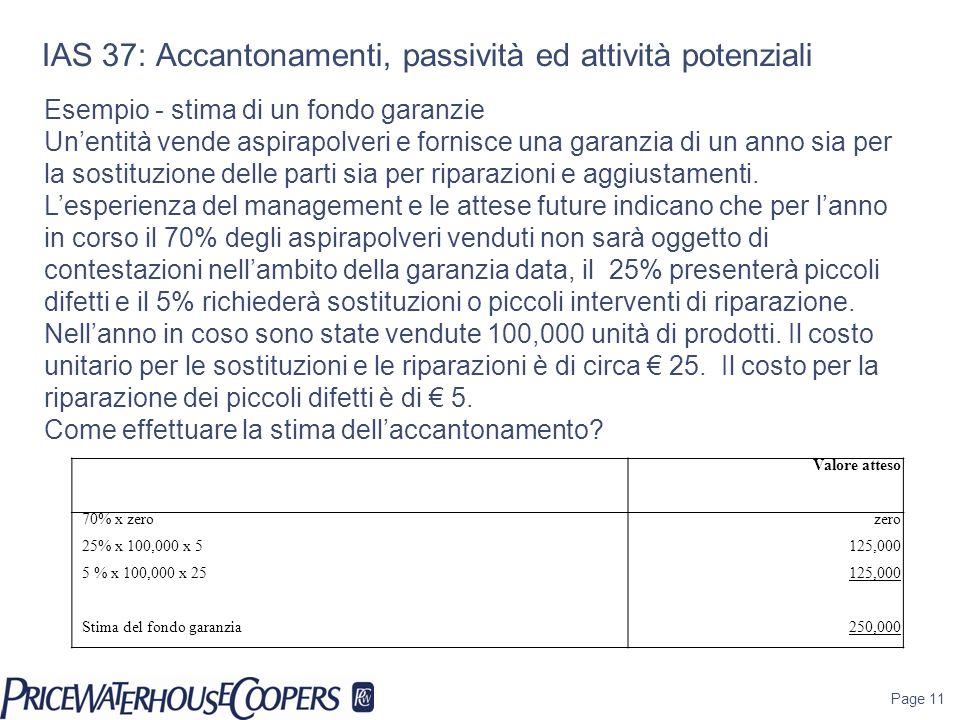 Page 11 Esempio - stima di un fondo garanzie Unentità vende aspirapolveri e fornisce una garanzia di un anno sia per la sostituzione delle parti sia p