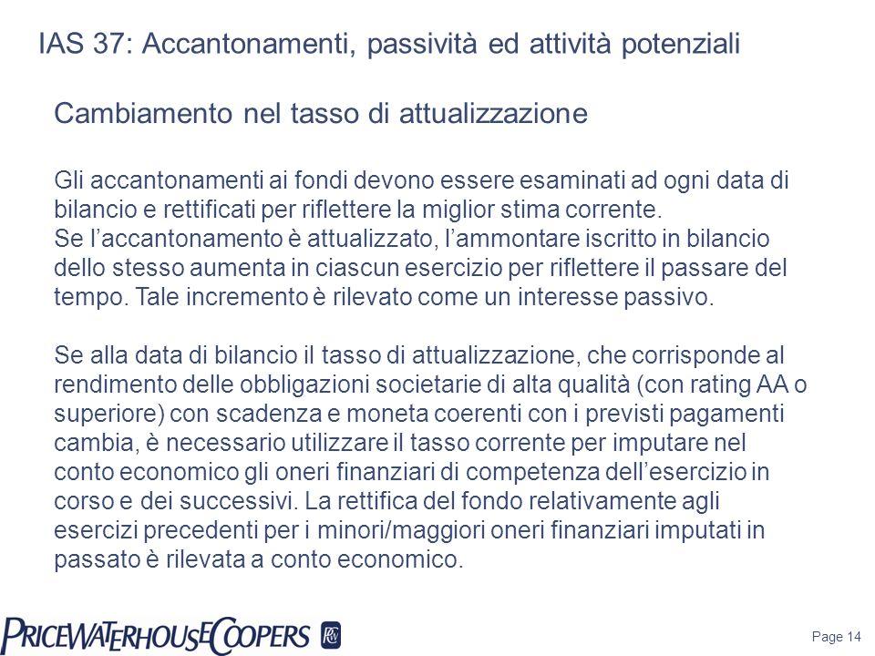 Page 14 IAS 37: Accantonamenti, passività ed attività potenziali Cambiamento nel tasso di attualizzazione Gli accantonamenti ai fondi devono essere es
