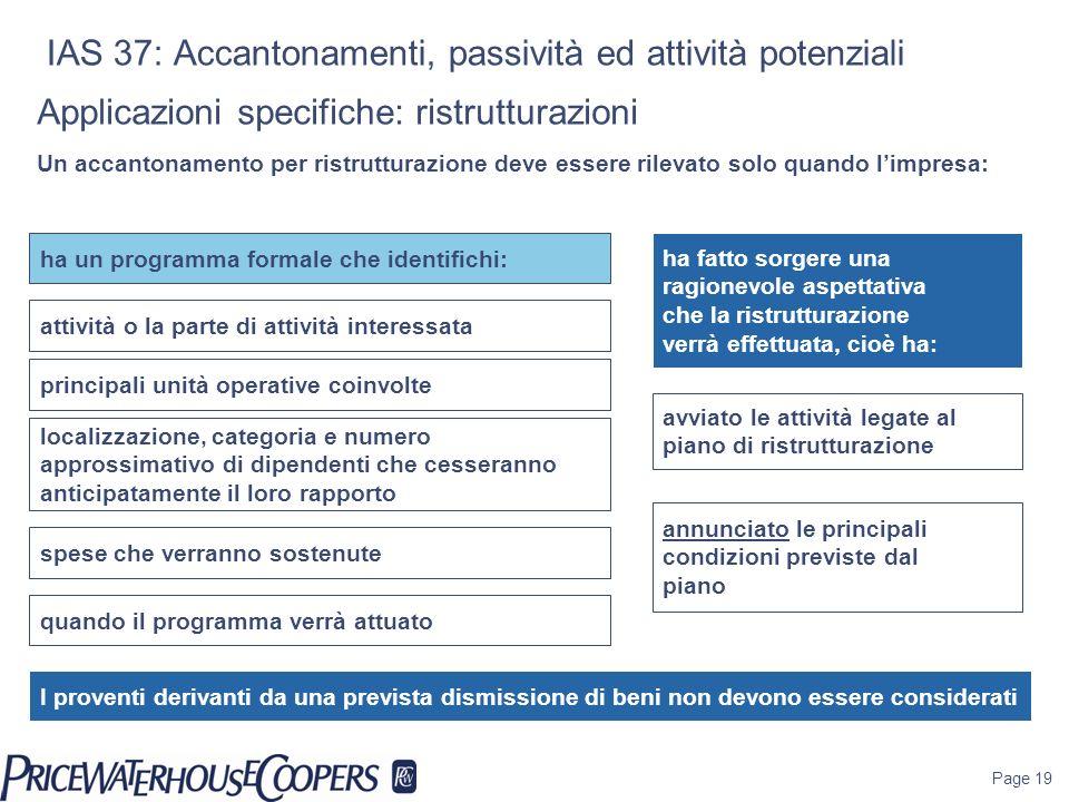 Page 19 IAS 37: Accantonamenti, passività ed attività potenziali ha fatto sorgere una ragionevole aspettativa che la ristrutturazione verrà effettuata