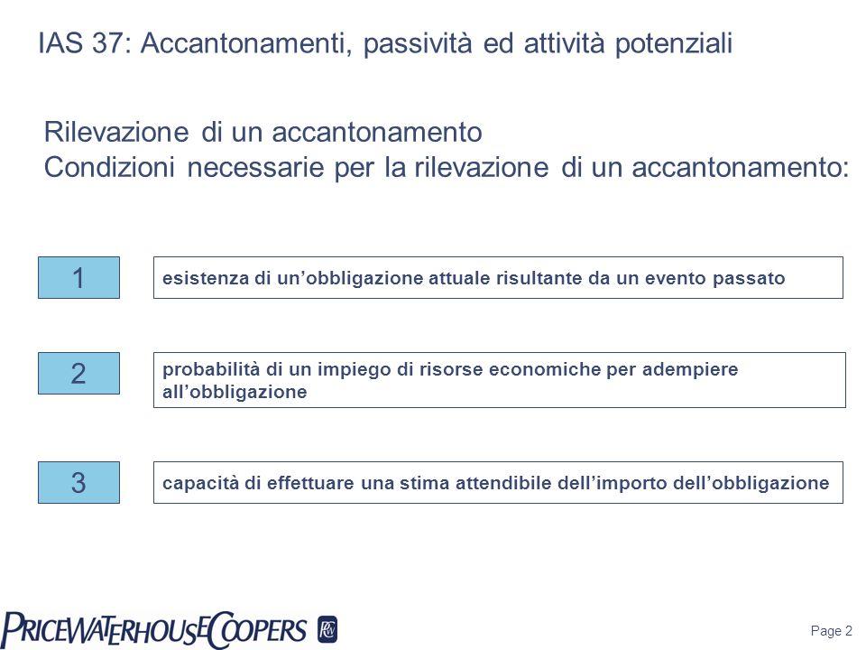 Page 2 IAS 37: Accantonamenti, passività ed attività potenziali Rilevazione di un accantonamento Condizioni necessarie per la rilevazione di un accant