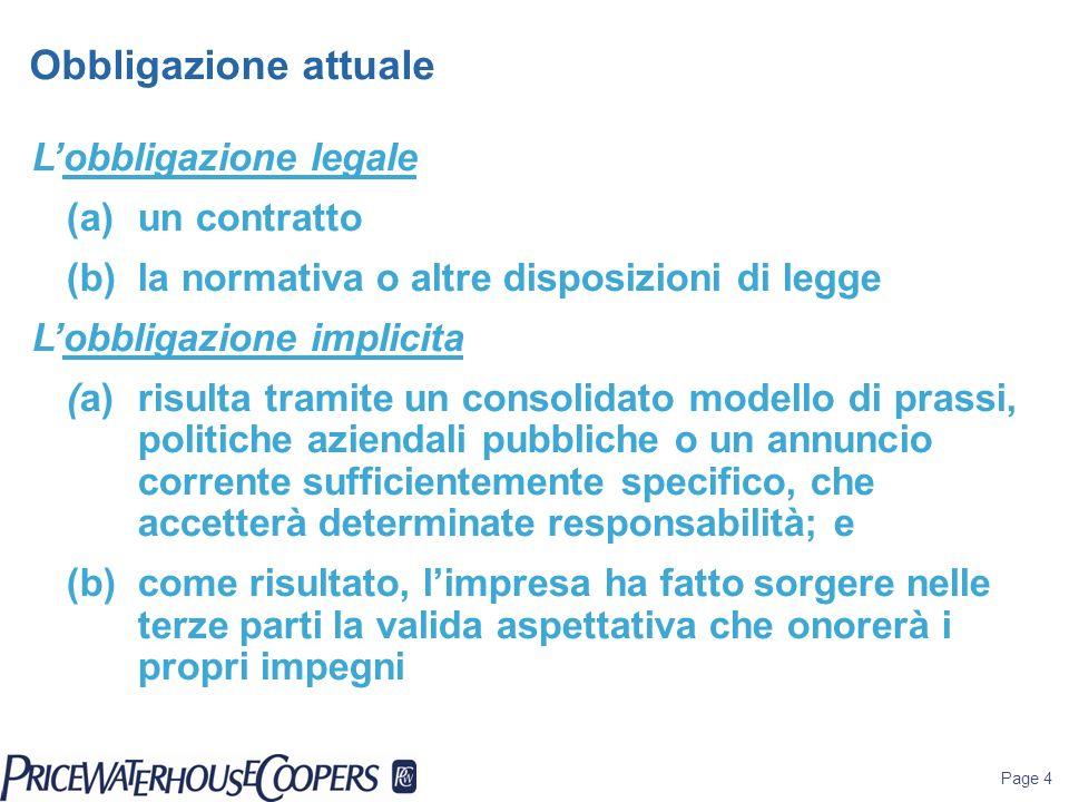 Page 4 Obbligazione attuale Lobbligazione legale (a)un contratto (b)la normativa o altre disposizioni di legge Lobbligazione implicita (a)risulta tram