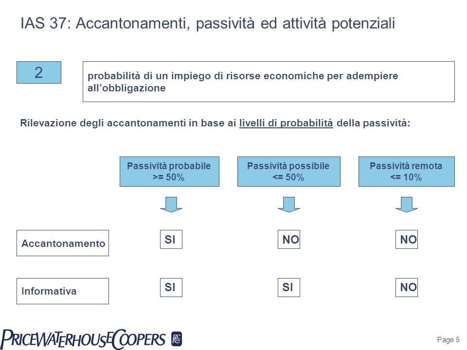 Page 5 IAS 37: Accantonamenti, passività ed attività potenziali 2 Passività probabile >= 50% probabilità di un impiego di risorse economiche per ademp