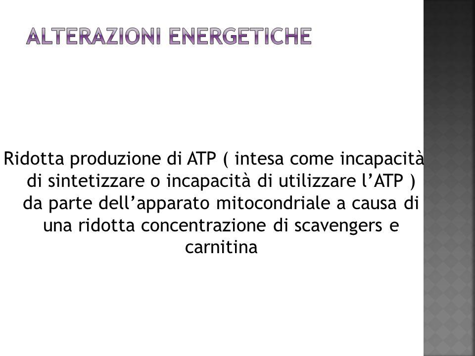 Ridotta produzione di ATP ( intesa come incapacità di sintetizzare o incapacità di utilizzare lATP ) da parte dellapparato mitocondriale a causa di un