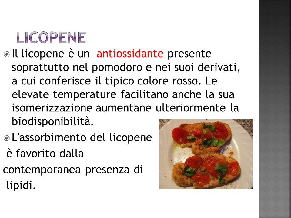 Il licopene è un antiossidante presente soprattutto nel pomodoro e nei suoi derivati, a cui conferisce il tipico colore rosso. Le elevate temperature