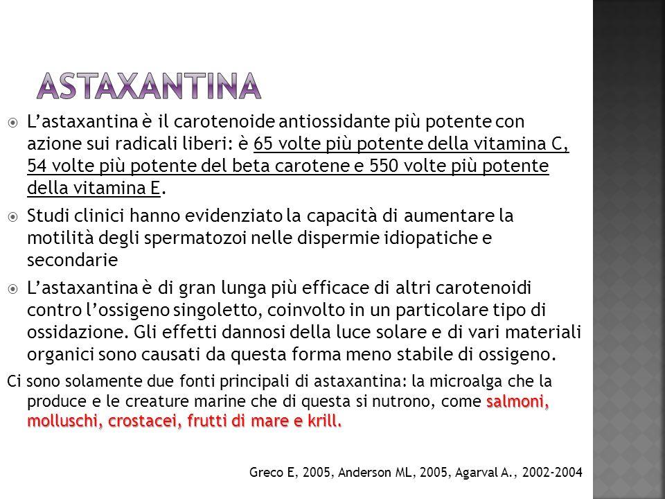 Lastaxantina è il carotenoide antiossidante più potente con azione sui radicali liberi: è 65 volte più potente della vitamina C, 54 volte più potente