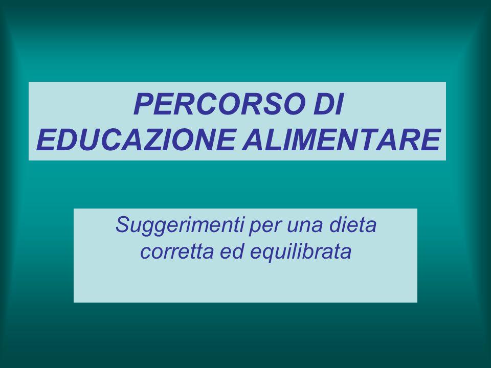 PERCORSO DI EDUCAZIONE ALIMENTARE Suggerimenti per una dieta corretta ed equilibrata